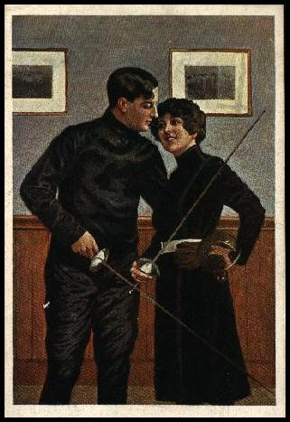man and woman fencers